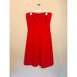 Red Ribbed Strapless Dress
